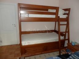 Двуетажно легло с чекмеджета - масив Бук