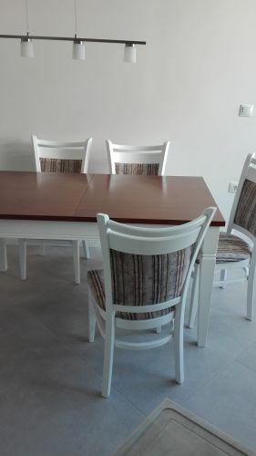 Маса Рон 150(190-230)/90/75 бук+ МДФ дъб, стол Вегас лукс